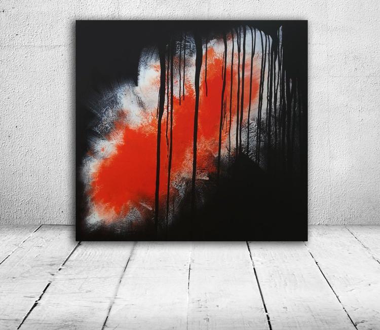 Rain Before Sun (Textured abstract acrylic painting 80x80cm) - Image 0