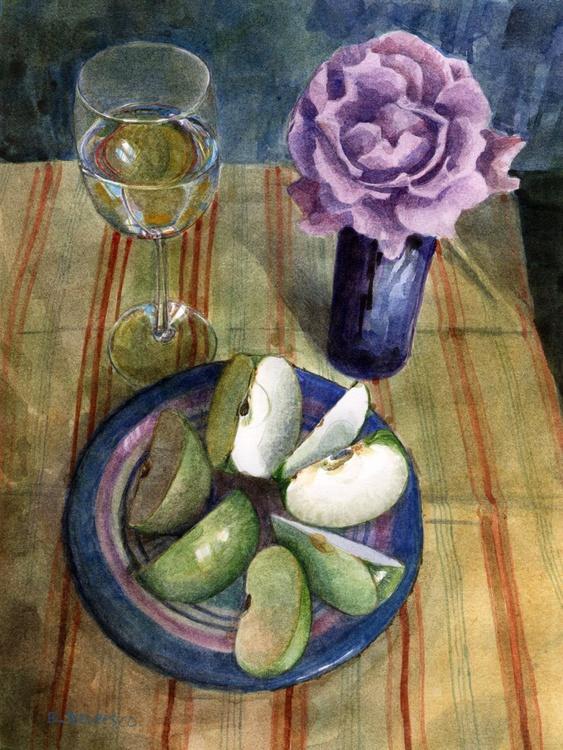 Sour Green Apples & White Wine (framed watercolour) - Image 0