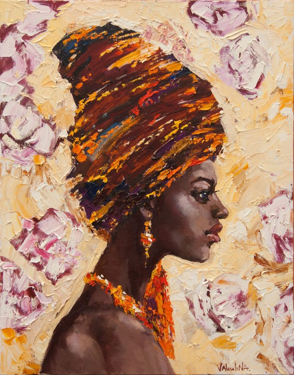 African woman portrait painting, Original oil painting - Image 0