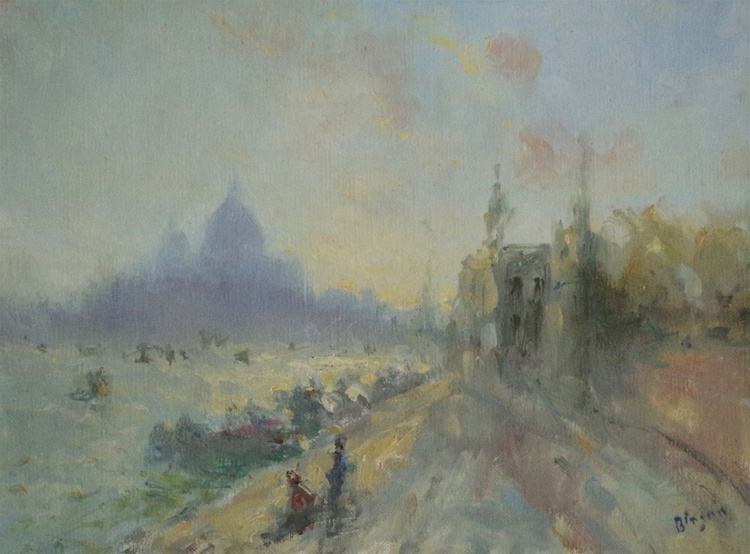 Venice - Sunset, Original oil Painting, Cityscape, Impressionism, One of a Kind - Image 0