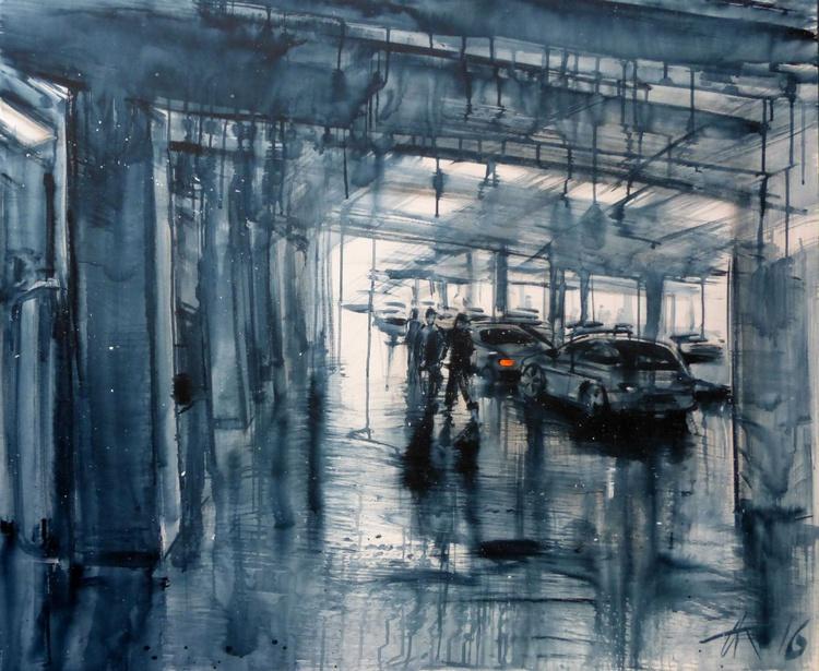 parking, large painting 120x100 cm - Image 0