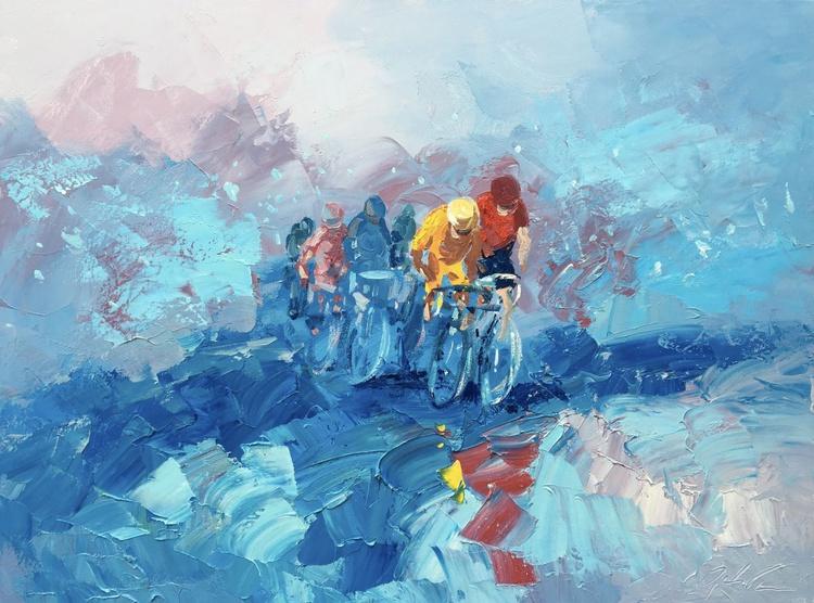 Cycling Art Cycling Painting Tour the France Cycling Gift Bicycle Art Bicycle Decor Bike Art Bike Wall Art Bike Gift Cyclist Race Art Racing - Image 0