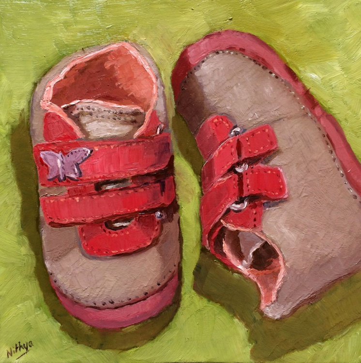 The first pair - Original Painting of Baby Shoes - Image 0
