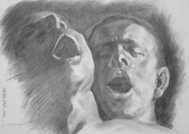 original art drawing charcoal gay interest portrait of men  on paper #16-4-7-05 -