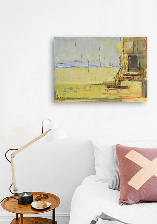 """Abstract painting """"Landscape 49"""". 100% Oil painting on cotton canvas. Unique impasto texture. 100/70 cm - Image 0"""