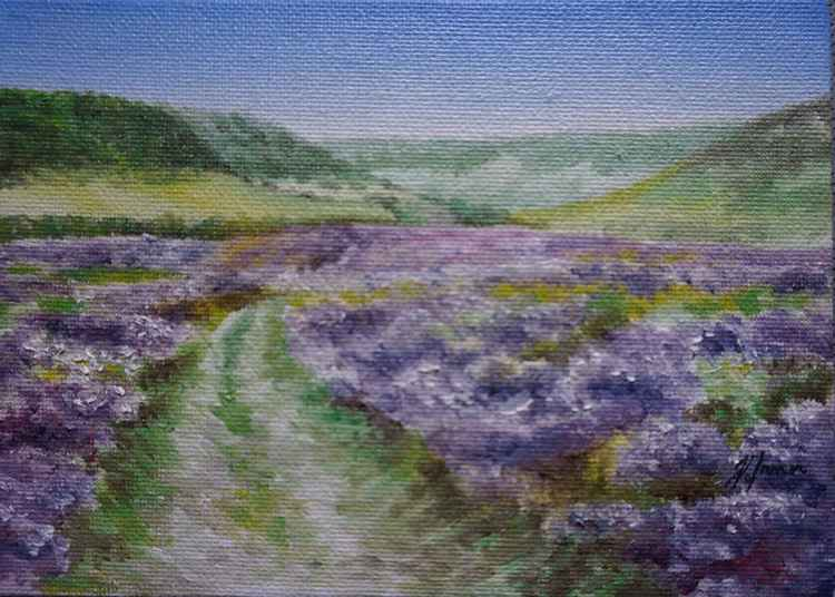 Horcum Footpath Oil on Board 5x7 -