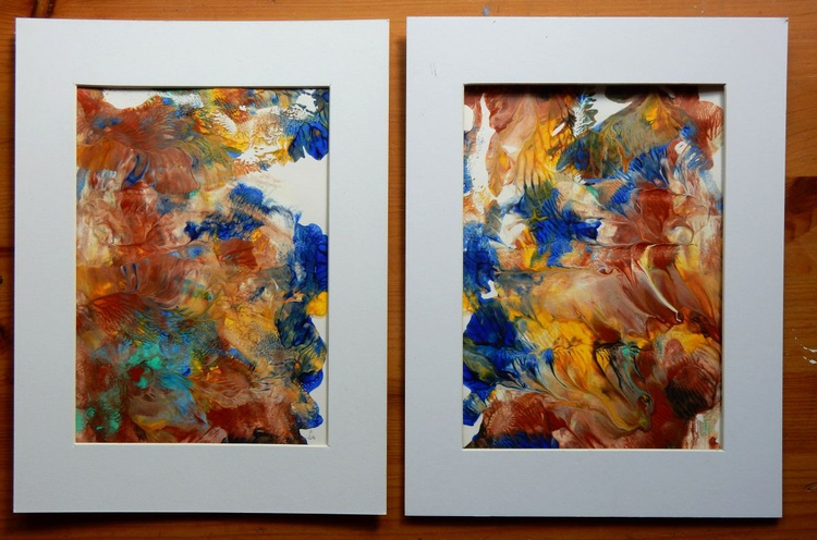 Reflections. Set of 2 paintings. In a passepartout. - Image 0