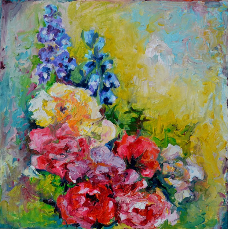 Flowers Bouquet - Blue Red and Yellow Flowers, Original Modern Floral Oil Painting - Ready to Hang - Image 0