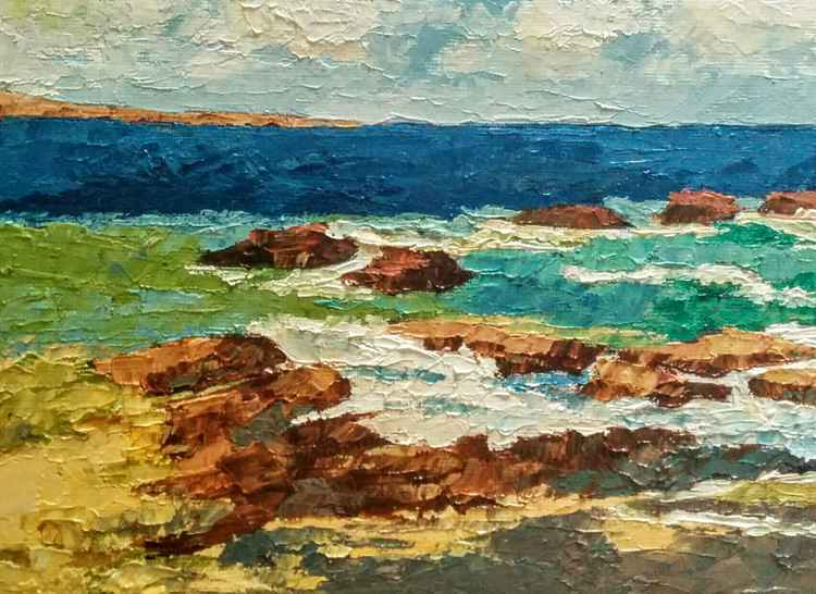 "Rocky shore Seascape, ""Restrained"""