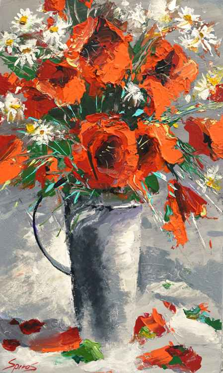 RED POPPIES - Original Oil acrylic Painting on canvas by Dmitry Spiros. Size: 32cm x 54cm