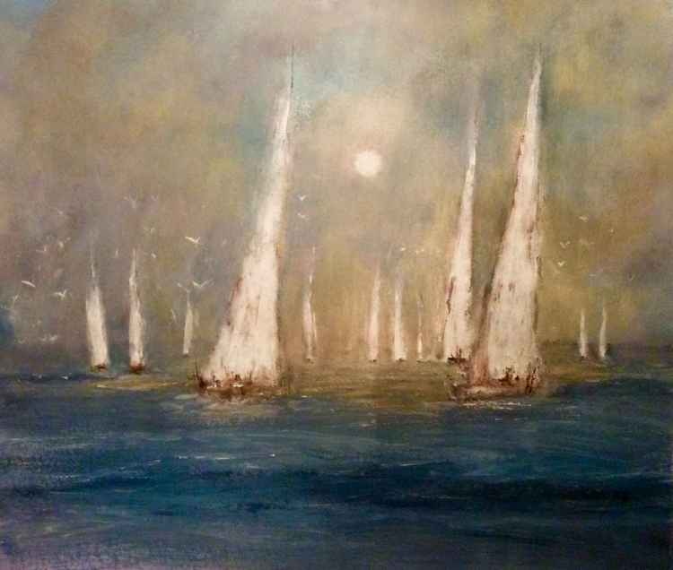 Sail boats in the Morning Sun.  LARGE PAINTING -