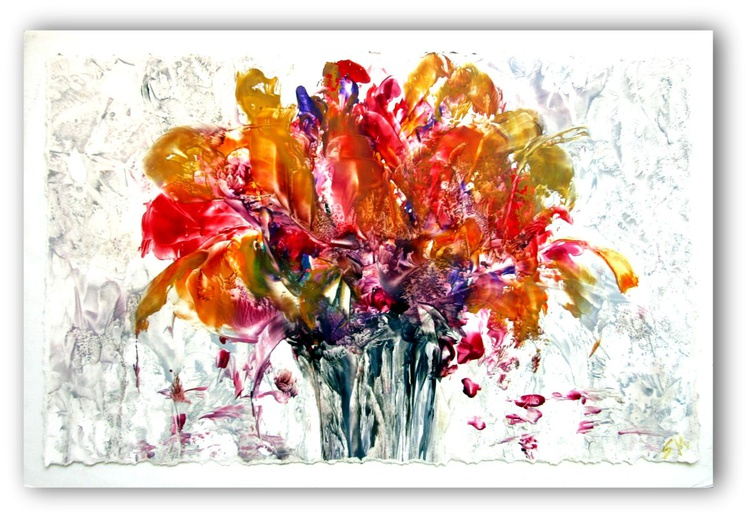 """""""Flowers for Mother"""" Encaustic on Paper, 28""""x18"""" - Image 0"""