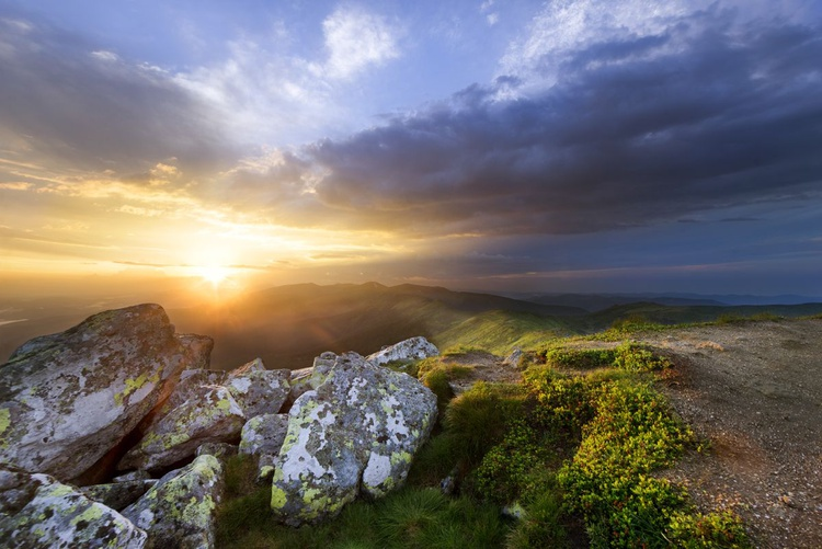 Mountain slope in summer at sunset - Image 0