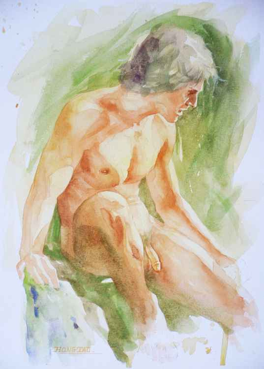 original art watercolour painting  male nude man on paper #16-5-2 -