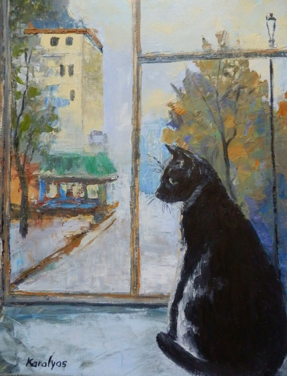 Black cat in the window - Image 0