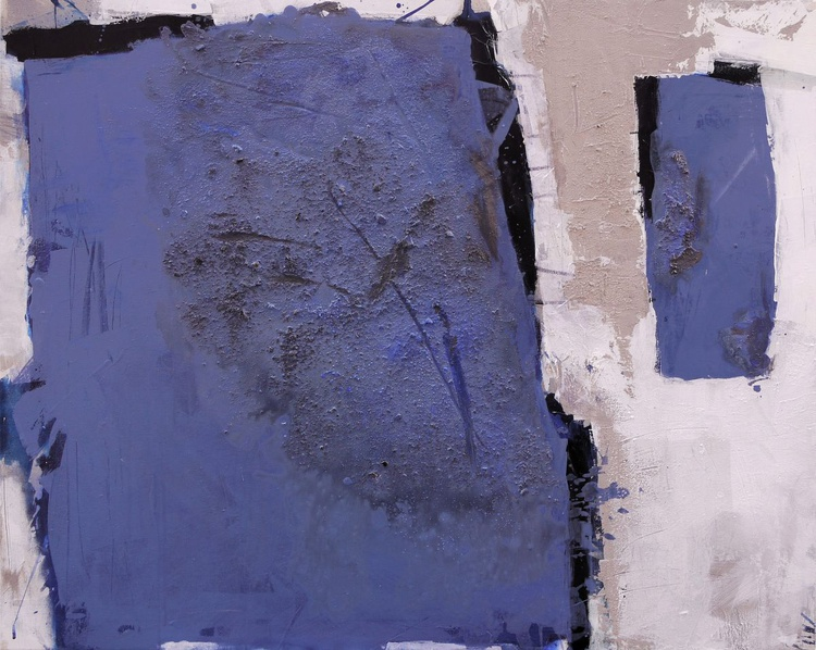 The Two Of Us | abstract | blue white black | collage mixed media | Work No. 2011.14 - Image 0