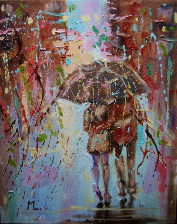 """ ONLY WE ... "" original oil painting RAIN COLLORFULL - Image 0"
