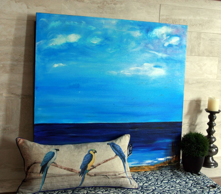 Dreaming - 36x36 Coastal View with assorted cushion - Image 0