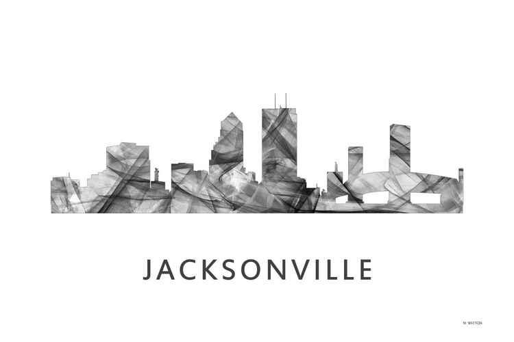 Jacksonville Florida Skyline WB BW -