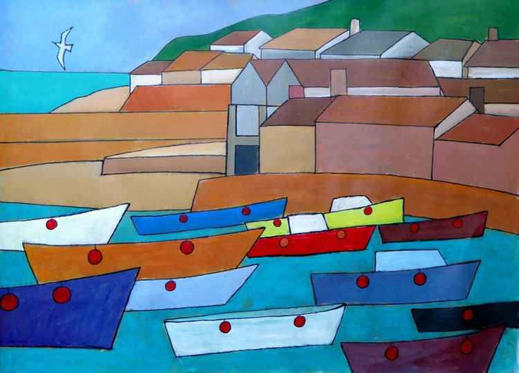 Summer boats, Mousehole harbour.