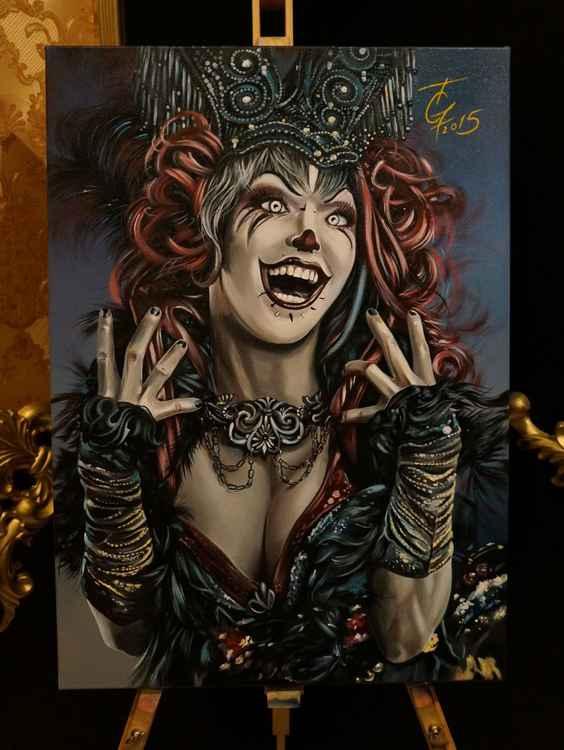 crazy clovn girl, acrylic on canvas -