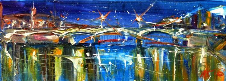 Evening lights, oil painting 60x20 cm - Image 0