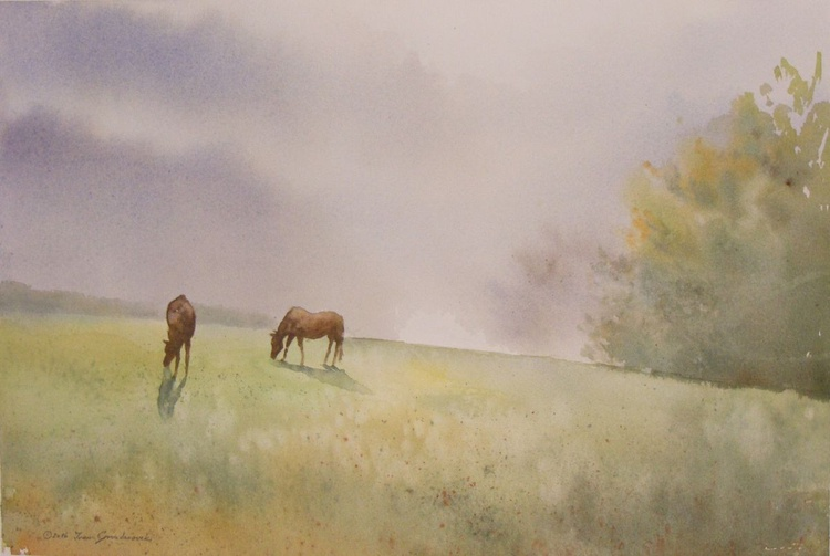 Two horses crow in the haze days - Image 0
