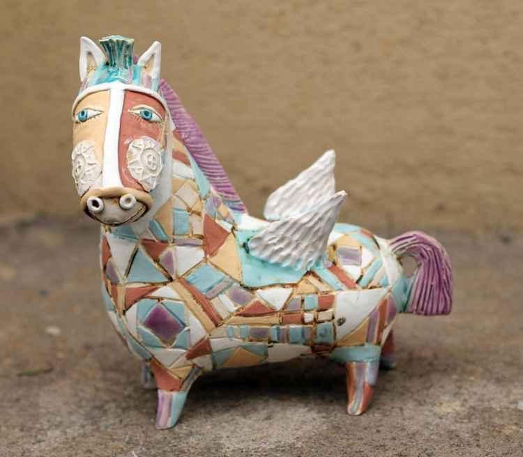 Smiling Pegasus, winged horse! -