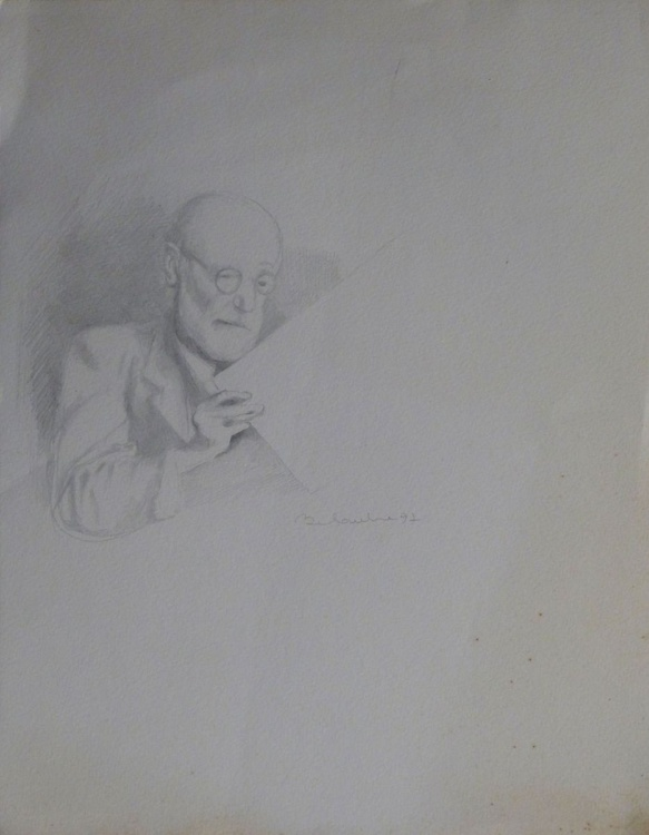 Portrait of Sigmund Freud, 41x32 cm - Image 0