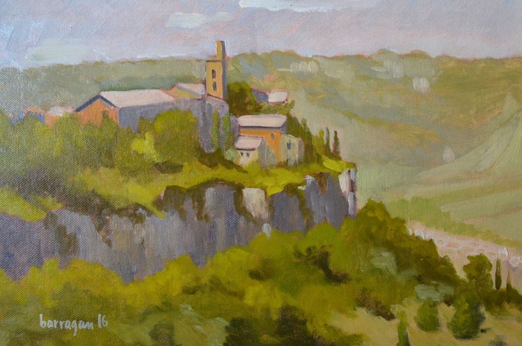 The View towards San Giovenale in Orvieto Italy Italian Plein Air Landscape Oil Painting - Image 0