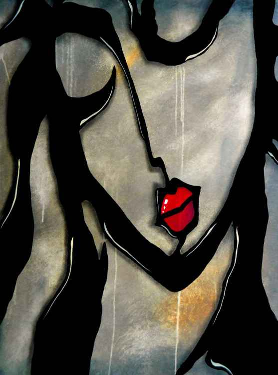 Rock Girl - Original Abstract painting Modern pop Art Contemporary Portrait FACES by Fidostudio -