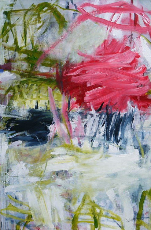 Brilliant Coup | large abstract | 80 x 120 cm | pink green white grey - Image 0