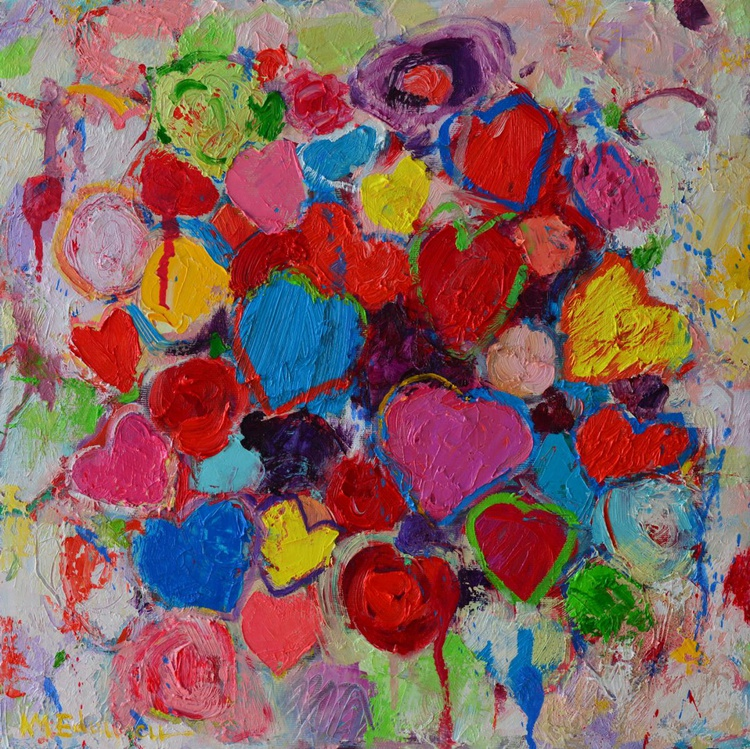 COLORFUL HEARTS AND FLOWERS - abstract expressionist palette knife oil painting - Image 0