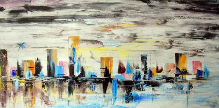 Evening Meets Night, City Life - Abstract Acrylic Art Painting - 28x55 inch, 2015 [Discounted Sale]