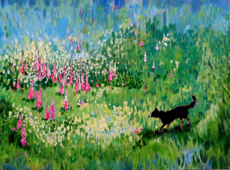 Border Collie Surrounded by Foxgloves - Image 0