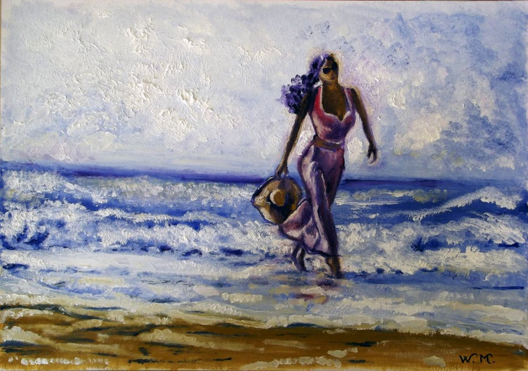 WALKING ON THE BEACH - Seascape view - 42 x 29.5 cm - Image 0