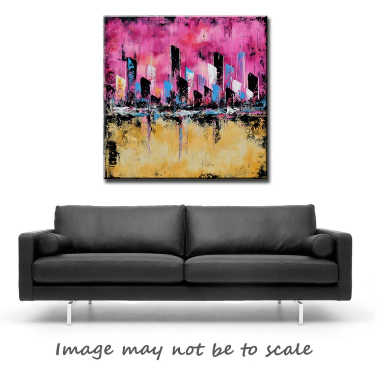 """"""" CHICAGO""""  Original Pink Abstract Painting, 36x36 Pink Cityscape Painting on Canvas, Abstract pink, Chicago cityscape, skyline modern art - Image 0"""