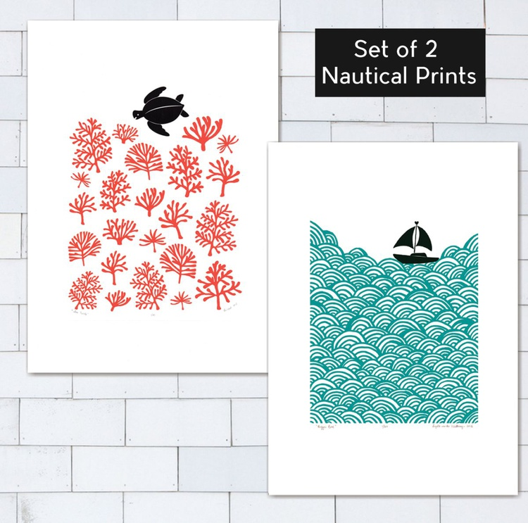 Set of 2 x A2 size Unframed Nautical Prints (Bigger Boat & Sea Turtle) - save 20% FREE Worldwide Delivery - Image 0
