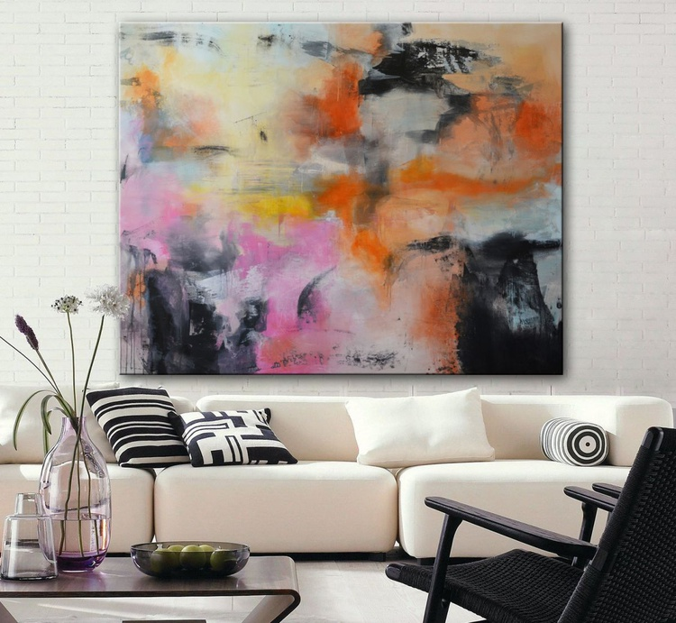 Everything but Peaches and Roses, 60x72 Pink Black painting - Image 0