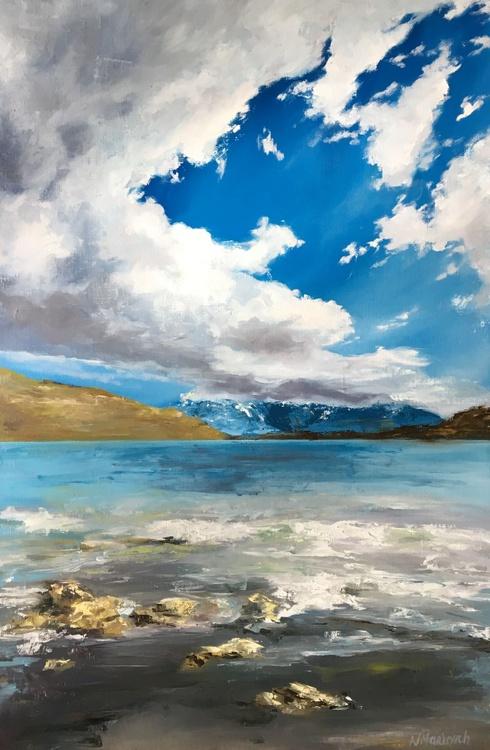 Original artwork Alpensee, Lake, Mountains, Cloudscape - Image 0
