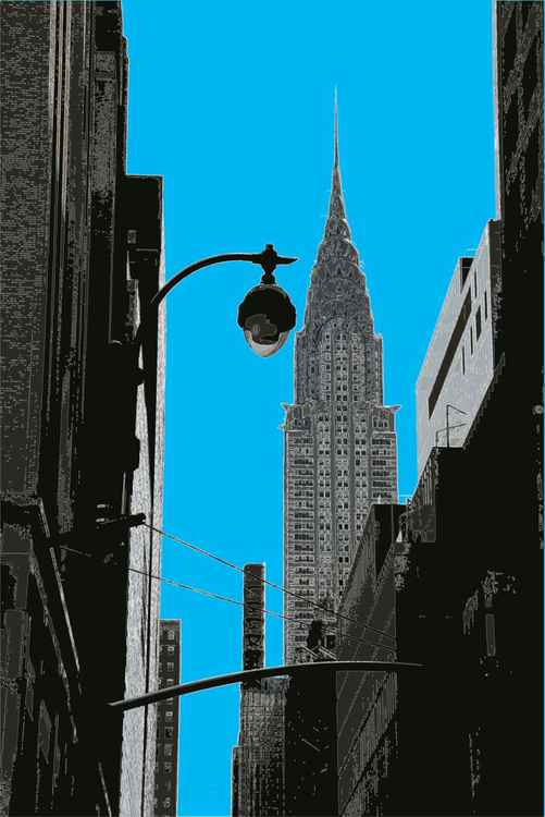 The Chrysler Building NY on blue -