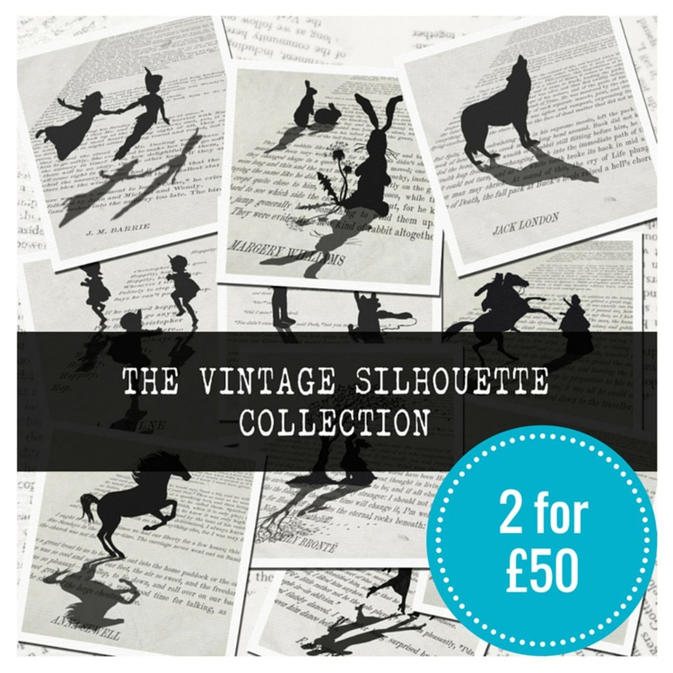 2 FOR £50 ON VINTAGE SILHOUETTE PRINTS - Image 0