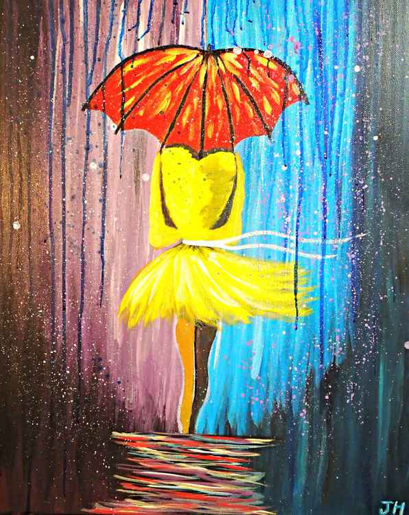 Woman in Yellow in the Rain