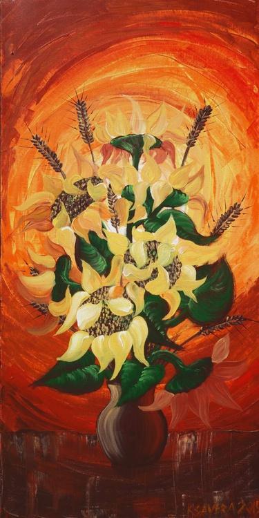 Still life 43 Sunflovers painting flowers orange palette knife decor original artwork floral art 50x100x2 cm acrylic on stretched canvas wall art by artist Ksavera - Image 0