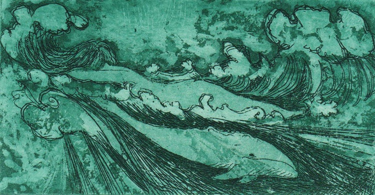 Woman and whale limited edition etching of an underwater dream - Image 0