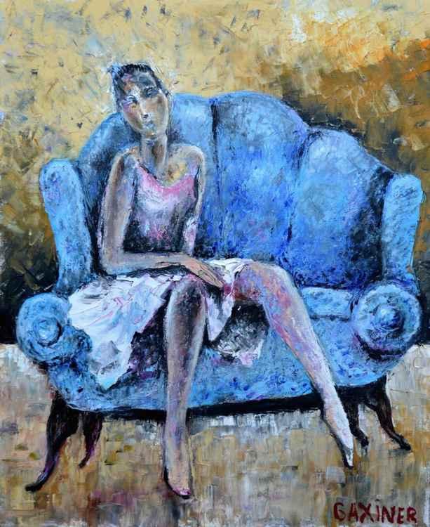 Blue sofa. -