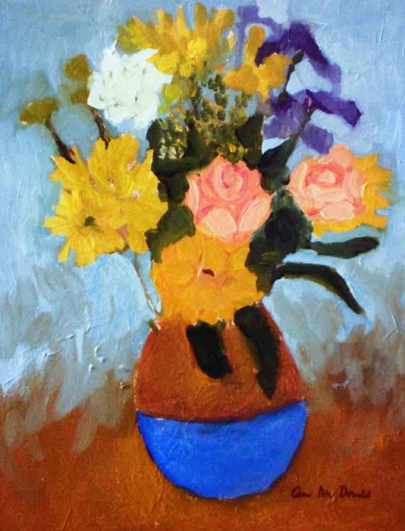 Tan and Blue Vase
