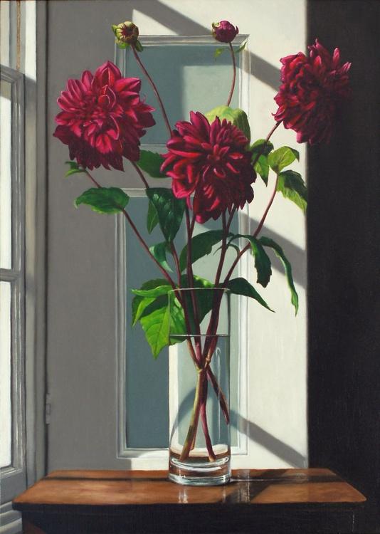 Three Stems of Purple Dahlias - Image 0