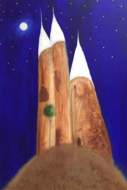""" the three towers of Aegean "" 56 x 81 cm -"