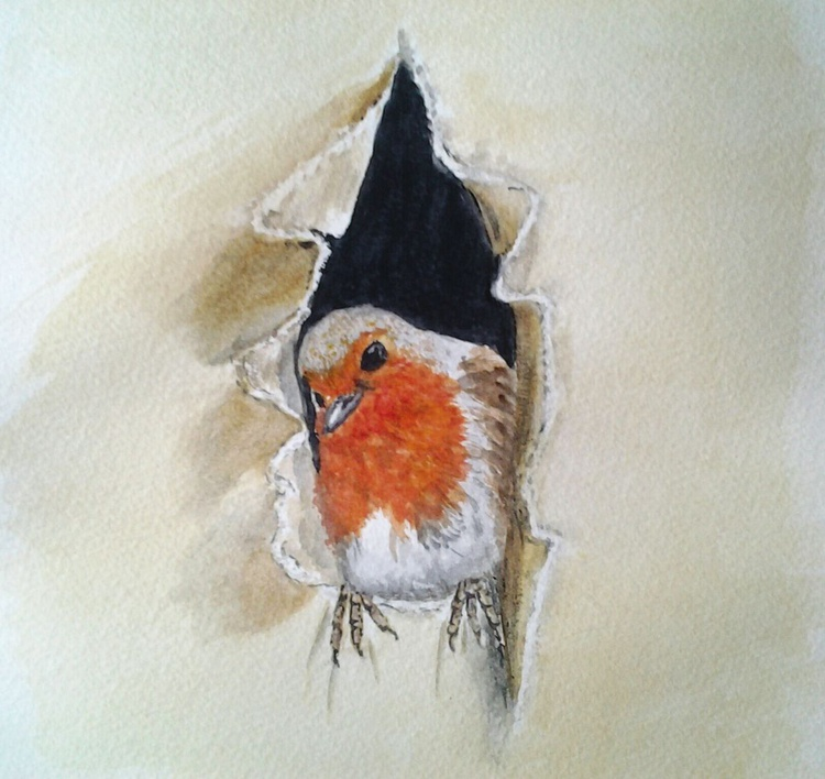 """IT WAS TORNE WHEN I GOT HERE..."", watercolour - Image 0"